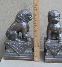 fu dog bookends 2 vintage asian foodog foo dog bookends metal pewter brass door