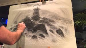 pj lynch drawing a dramatic light house scene in charcoal and