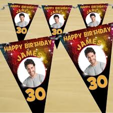 Happy Birthday Flags Personalised Happy Birthday Flag Photo Bunting Banner N41