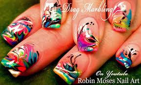 robin moses nail art rainbow no water marble nail art design