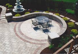 Round Stone Patio Table by Grey Stone Patio With Round Stone Fire Pit And Bench With Large