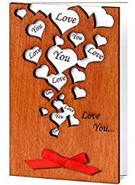 amazon com handmade real wood greeting love card with hearts for