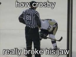 Hockey Memes - hockey memes on twitter how crosby really broke his jaw http t