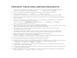 stoichiometry percent yield and limiting reagents practice