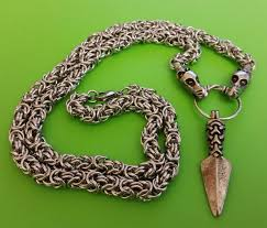viking dragon chain 70cms with a manx gungnir spear pewter pendant