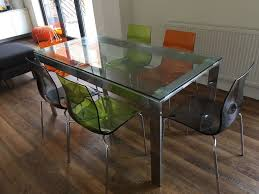John Lewis Kitchen Furniture John Lewis Glass And Chrome Dining Table And 6 Coloured Gel Chairs