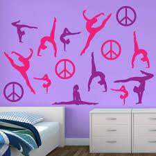 pink purple silhouette wall graphics sticker genius gymnastics wall sticker restickable decals