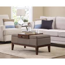 tan rectangle storage ottoman viscose casual home living furniture