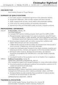 resume job objectives resume project manager auto industry susan ireland resumes