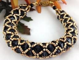 crystal rope bracelet images Bracelet bangle beaded net black swarovski crystal gold metallic jpg