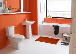 Contemporary Vanities For Powder Room Bathroom Modern Beauty Small Bathroom Suites With Orange Wall