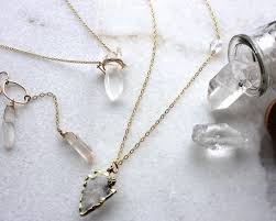 real crystals necklace images Clear raw crystal necklace in gold roxluna jewellery jpg