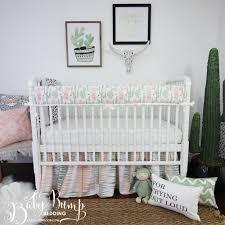 Baby Nursery Bedding Peach U0026 Green Cactus Gender Neutral Baby Crib Bedding