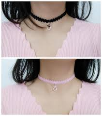choker necklace pink images Pink black flower pendant choker necklace sp1811905 spreepicky jpg