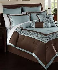 24 Piece Comforter Set Queen Elegant Luxurious Blue And Brown Bedding Looks Like A Luxury
