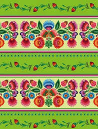 center gift wrapping paper wycinanki themed