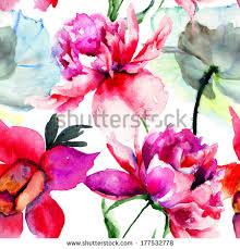 Peony Flowers by Seamless Pattern Beautiful Peony Flowers Watercolor Stock