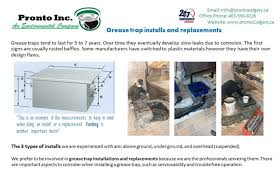 Kitchen Grease Trap Design Pronto Opening Hours 5815 40 St Se Calgary Ab