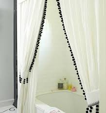 Curtain Trim Ideas White Drapes With Black Trim Impressive White Curtains With Black