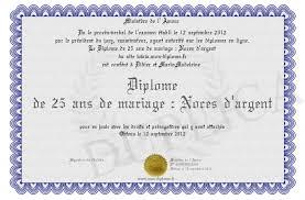 25 ans de mariage diplome de 25 ans de mariage noces d argent