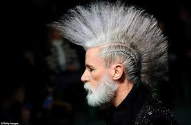new age mohawk hairstyle ageing punks with grey mohawks rule at jean paul gaultier paris