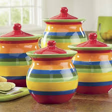 yellow kitchen canister set 4 multistripe canister set from seventh avenue dd703613