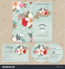 Invitation Card With Rsvp Set Wedding Invitation Cards Announcements Beautiful Stock Vector
