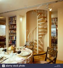 Dining Room Place Settings Spiral Staircase In City Dining Room With Place Settings And Stock