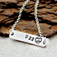 personalized silver bar necklace personalized baseball bar necklace sweet aspen jewels