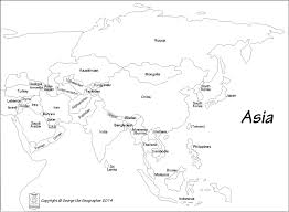 Continent Of Asia Map by Outline Base Maps