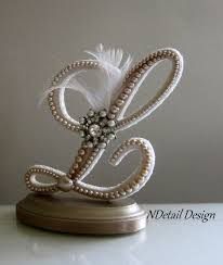l cake topper wedding cake topper display monogrammed pearl by ndetaildesign