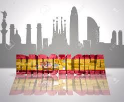 Barcelona Spain Flag Word Barcelona With National Flag Of Spain Near Skyline Silhouette