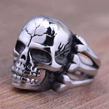 ring finger rings images Punk skull rings for men antique silver steampunk skeleton male jpg