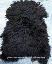 sheepskin rug sheep fur shaggy rug thick hair black color area rug
