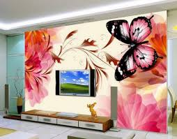 four drawers lcd cabinet and butterfly wallpaper design id846