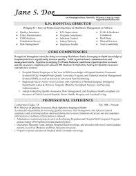 Professional Background Resume Examples by R N Hospital Director Resume Sample Displaying Core Competencies