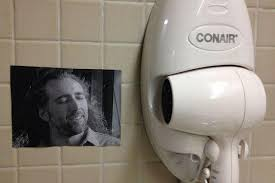 Hand Dryer Meme - irti funny picture 8891 tags nicolas cage con air hair dryer