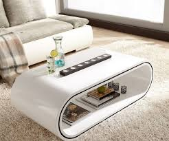 Wohnzimmertisch Oval Couchtisch Hochglanz In Weiss Ideen Design