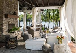 Outdoor Wood Ceiling Planks by Outdoor Swinging Sofa Country Deck Patio Heather Garrett Design
