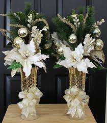 White Christmas Centerpieces - white u0026 gold poinsettia christmas centerpiece home christmas