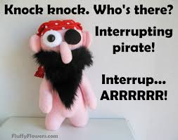 knock knock joke for kids featuring a really cute pirate
