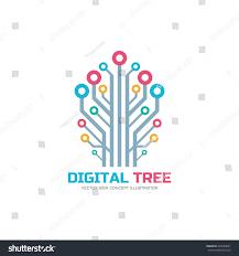 digital tree vector logo concept illustration stock vector