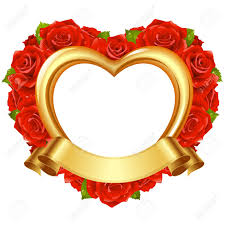 wedding wishes photo frame vector frame in the shape of heart with roses and golden