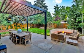 Backyard Dining by Sleek Modern Outdoor Living Space In Park Hill Mile High Landscaping