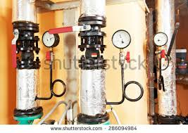 Faucet Pipes Closeup Manometer Pipes Faucet Valves Heating Stock Photo