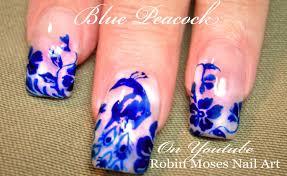 diy easy peacock nails blue bird nail art design tutorial youtube