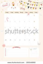 cute calendar template 2016 beautiful diary stock vector 285548060