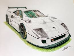 supercar drawing ferrari f40 lm by lb performance drawing supercar by filo