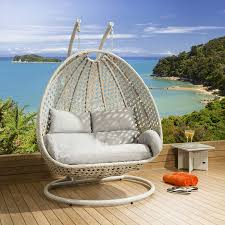 Chair Swing Luxury Outdoor 2 Person Garden Pod Hanging Chair Swing Stone Grey