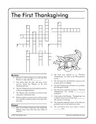 the thanksgiving crossword 3rd 5th grade worksheet
